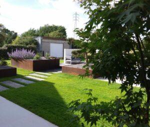 Jardin avec Bac acier Corten