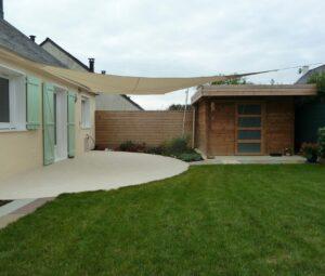 Terrasse voile d'ombrage et abri de jardin